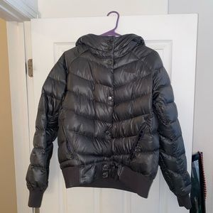 Grey North Face Bomber Puffer Jacket